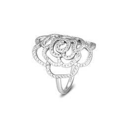 Аутентичные серебряные украшения онлайн-Authentic 925 Sterling Silver Jewelry Large Rose Rings With Clear Cubic Zirconia Jewelry Free Shipping