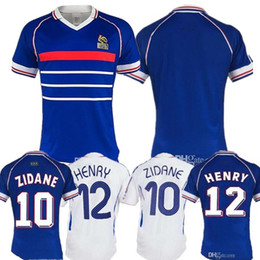fffcdc01c 1998 world cup FRANce RETRO VINTAGE soccer jerseys ZIDANE HENRY MAILLOT DE  FOOT Thailand Quality uniforms Football Jerseys shirt