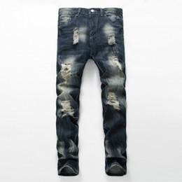 Wholesale Jeans pour hommes en gros pour la conception de l art mens drapeau américain pantalon effet de scratch arrière poche styles garçon taille bas prix de vente hip hop long