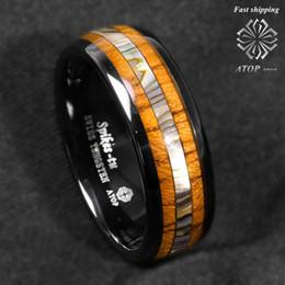 Canada 8mm anneau de carbure de tungstène noir Koa bois ormeau ATOP bande de mariage bijoux pour hommes cheap abalone wedding band Offre
