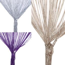 Cuentas de cristal para ensartar online-2 x 1 m de cuerda Cortinas los granos del cristal de la borla de seda Cortinas de cuerdas puerta de la ventana Panel de cortinas cenefa para la sala de estar Decoración Cortina