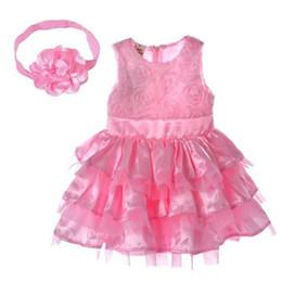 Rosa rosette blumenmädchen kleider online-Hochwertige 2019 Rosengarten Rosa Rosette Seidenkleid Ostern Blume Baby Mädchen Hochzeit Neu + Stirnband