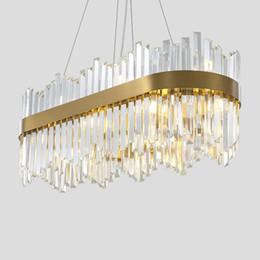 2019 iluminação ocidental vintage luzes LED de design de luxo cristal oval iluminação lustre moderno lampadario aço inoxidável de ouro para casa