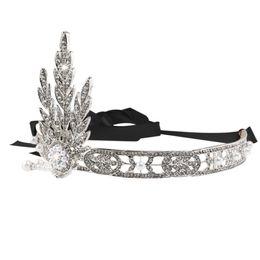 tiaras negras para boda Rebajas Boda nupcial estilo de la hoja Rhinestone perla peinetas para el cabello / Hairband / Tiara Hair Loop (astilla + negro)