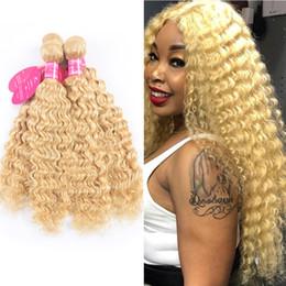 cheveux remy couleur blonde Promotion 613 Couleur Cheveux Trame Blonde Brésilienne Vague Profonde Bundle 8-24 Pouces Remy Armure de Cheveux Humains Platinum Blonde Bundles 1 / 3pc