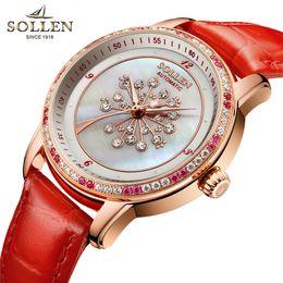 2019 luxo mulheres relógios senhora pérola Série De Couro De Flor vermelha Dandelion Mulheres Assista Moda Lady Diamante Mãe de Pérola Dial de Luxo Mulheres Relógios Mecânicos Relógio desconto luxo mulheres relógios senhora pérola