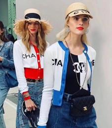 2019 free crochet ponchos Designer-Strickhemd der Luxusfrauen neuer Fall-Frauen-Strickjackebrief Sweatshirts Gestrickte Pullover-Strickjacke übersteigt kurze Wolljacke