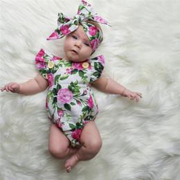 Colete sem mangas on-line-Bebê recém-nascido infantil meninas roupas de gola quadrada sem mangas bodysuit impressão floral bowknot headband 2 pc algodão casual outfit