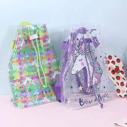 2019 mochilas de sandia 4 estilos unicron pvc mochila transparente impermeable con cordón láser bolso de escuela sandía dibujos animados impresos bolsas de almacenamiento para niños niña FFA2749 mochilas de sandia baratos