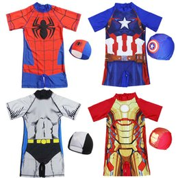 2019 traje de baño coreano azul Vengadores 4 Niños de superhéroe Traje de baño Bebé niños Traje de baño Marvel Spiderman Iron Man Capitán América Traje de baño de una pieza con gorra B