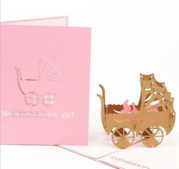 Convite meninos on-line-Criativo 3D azul e rosa carrinho de bebê cartão artesanal menina menino presente de aniversário bênção desejando convite cartão