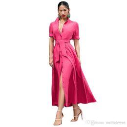 Длинные платья онлайн-Button Up Элегантное длинное платье-макси с отложным воротником с коротким рукавом Клубное вечернее платье Летняя передняя юбка с высоким разрезом Robe Femme NB-1386