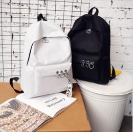 Zaino da zaino per le donne rosa online-Pelle Donna Uomo Tela di viaggio backpack la cartella zaino portatile sacchetto di scuola Nero Grigio Rosa Bianco