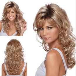 Damen Perücken Lange Blonde Haare Lange Lockige Haare Slant Bangs 65cm Lang Mit Hochwertigem Rose Intranet