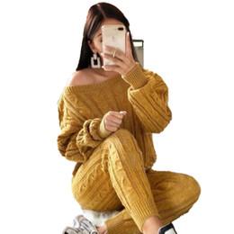 Lanternas de pescoço on-line-Moda Pullover Camisola De Malha Casuais Mulheres Elegante Jumpers Senhoras Sexy Tricot Mulheres 2 Peças Set Femme Lanterna Manga Slash Pescoço