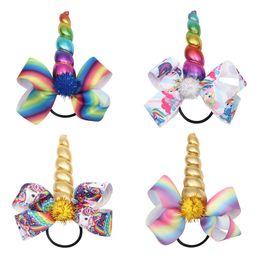 Niños pulsera elástica online-Unicornio Bows Pom Hair Bands Kids Clip de Pelo Joyería Arco Iris Elástico Cinta Hairband Regalos de Niños Cola de Caballo Cuerda de Pelo HHA436