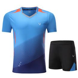 Tischkleidung online-Neue Qucik Dry Badminton Sportbekleidung Damen / Herren, Tischtennisbekleidung, Tennisanzug, Badminton Wear Sets 3860 C19032601