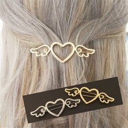 love hair Coupons - Fashion Woman Metal Angle Wings Love Heart Barrette Clips Pin Geometric retro Hair Clip Hairgrip Styling Tool For Girls