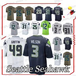 Seattle jerseys Russell 3 Wilson Kam 31 Chancellor Richard 25 Sherman 12  Fan men football jersey 8f097f444
