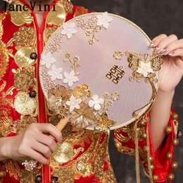 Borboleta fã on-line-Fan JaneVini antiga nupcial Mão Gold Butterfly Handmade Noiva Flores Fan Tipo Wedding Bouquets China Bouquet clássico Mariage 2020