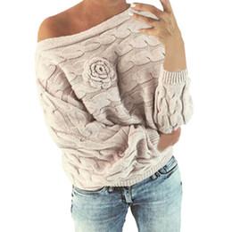 maglioni dalle spalle delle donne Sconti Womens Off Shoulder Maglione Multicolor Striple Flower Sweater Casual maglia manica lunga pullover sweters donne invierno 2019