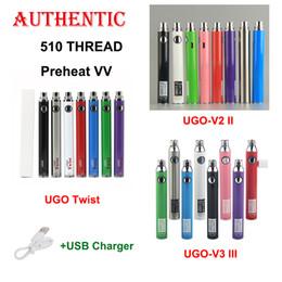 Authentische UGO V II 2 III 3 UGO Twist 510 Vape Pen mit variabler Spannung Vorheizen des Akkus EVOD eGo Micro USB Passthrough-Akku von Fabrikanten