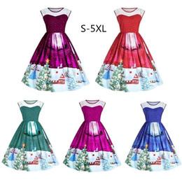 20512d5af45 Femmes dames sexy dentelle patchwork sans manches robe nouvelle mode robes  de neige imprimé arbre de noël pour 5 couleurs