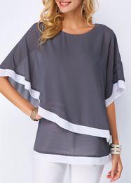 blusa de camada dupla Desconto Plus Size Patchwork Dupla camada Mulheres Blusa Casual Sexy Batwing túnica Verão 5XL Tamanho Grande Camisas Das Mulheres Camisas