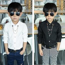 camisa preta do colar dos miúdos Desconto 2018 de Moda de Nova camisas dos bebés com Sólido Branco / camisa preta camisa de manga comprida cadeia colar de metal presente para as crianças