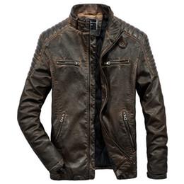 Männer braunes leder parka online-Lederjacke Herren Für Motorräder Vintage Braun Schwarz Parka Slim Herren Winter Warm Casual Moto Biker Jacke Mantel