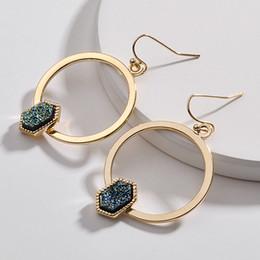 2019 großhandel kunststoff kronleuchter Gold plattiert Kendra Stil Scott Hexagon Harz Druzy auffällige Ohrhänger Faux Stein Druzy Ohrringe für Frauen Schmuck