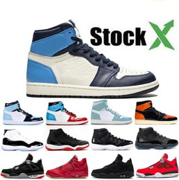 Designer basketball shoes online-4 4s White Cat Cemento Donne 1 1s Travis Scotts Grey Mens scarpe da basket UNC Bred 11 11s Concord Uomini Sport Sneakers Designer