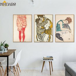 Esboços de fotos on-line-Pintura Imprimir Egon Schiele Corpo de cor Delineamento Esboço Figura Canvas Art Poster, Wall Pictures para sala de estar, Home Decor
