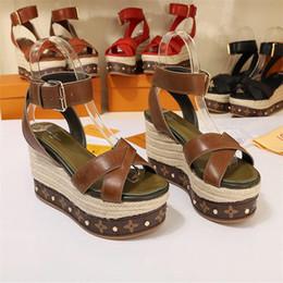 Sandali ad altezza crescente online-Le ultime scarpe da donna, sandali con zeppa in tessuto a righe, sandali con zeppa in plateau, altezza scarpe in aumento taglia 35-41