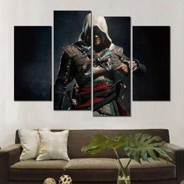 assassini creed canvas Sconti 4 set HD stampe su tela assassins creed bandiera nera senza cornice Pittura per la decorazione della parete di belle arti