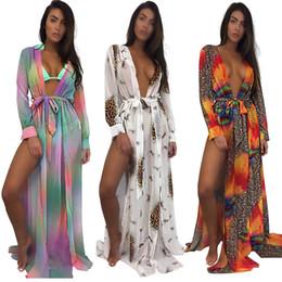 Юбки-бикини онлайн-Глубокий V Сплит Пляжные платья макси Sexy Boho Длинные рукава с леопардовым цветочным принтом Женский купальник бикини блузка юбка оптом