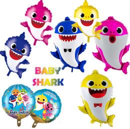 2019 111 globos Baby Shark Foil Globos de Helio Dibujos Animados Inflables de Aluminio Globo Niños Niños Tema Fiesta de Cumpleaños Suministros de Decoración Regalos A52006