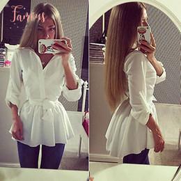 cintura della camicetta delle signore Sconti Shirt Donna Nuovo Camicetta bianca manica lunga con scollo a V Belt giù i vestiti ufficiali Attire parti superiori delle signore Slim