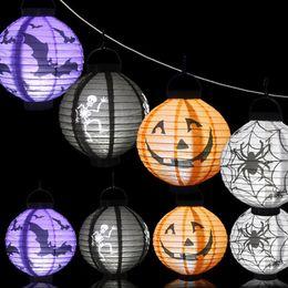 Bombilla led batería para linterna online-Papel LED Calabaza Araña Murciélago Colgante Linterna Lámpara de luz Decoración de fiesta de Halloween Patrón de calavera Decoración Bombillas de batería Globos Lámparas para niños