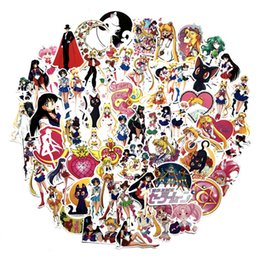 sailor moon set Coupons - 75 Pcs set Classics Anime Sailor Moon Sticker For Car Laptop Skateboard Bicycle Waterproof PVC Water ice moon Stickers