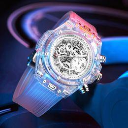 Relojes de moda de plastico damas online-2019 ONOLA Marca de Moda Reloj Transparente Hombres unisex para mujer reloj de pulsera de Luz de Plástico Deportes casual único de Cuarzo de Lujo Relojes Para Hombre