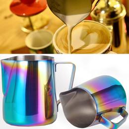 Lanciatore di latte in acciaio online-Stainless Steel Coffee Pot colorato fiore di tiro di caffè Brocca Latte Acqua Pentole Teiere Teiere Cup Mug Bicchieri 350ml MMA2515 600ml