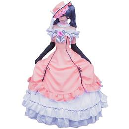 Vestidos medievales para mujer online-Anime Black Butler Ciel Phantomhive Cosplay Victoriano Medieval vestido de traje de gala vestido
