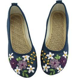 китайская обувь для обуви Скидка 2019 Женщины Vintage Flats Осень Женский Холст Этнический Китайский Узел Скольжения На Мокасины Повседневная Обувь Комфорт Дамы Вышитые