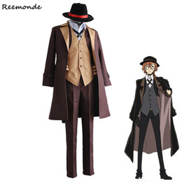костюмы для косплея аниме Скидка Anime Bungo Stray Dogs Cosplay Costumes Nakahara Chuuya Jackets Pants Full Set Uniform Synthetic Wigs Hair For Men Boy Clothing