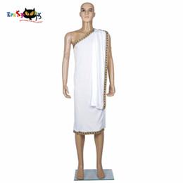 Traje de rey faraón online-Disfraz de Halloween César Disfraz Hombres Toga Cosplay griego Disfraces de Faraón Fiesta de Halloween Trajes blancos Rey Emperador de Roma para hombre adulto