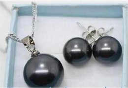 hängende mutter perle china Rabatt Jewelryr Pearl Set set Muschel Perlmutt Perlmutt Anhänger Halskette Ohrring 10mm / 14mm Freies Verschiffen