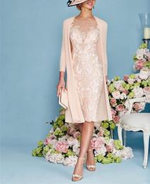 2 peças mãe rosa de vestidos de noiva rendas chiffon jóia 3/4 manga joelho comprimento mãe vestido tampado para casamentos de Fornecedores de moda tafetá renda vestido da noiva mãe