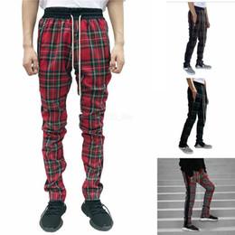 2019 pantalones a cuadros de primavera para hombres Hombres Scottland Pantalones de chándal de diseñador Primavera Otoño Otoño Pantalones Monopatín de tela escocesa Vintage Fear Of God Stripes Pants LJJA2723