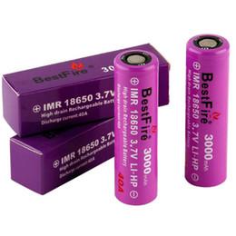 Feu à plat en Ligne-Vaporisateur Bestfire IMR 18650 Batterie 3000mAh 40A Meilleur Fire Vape Batteries Violet Couleurs Plat top 18650 batterie pour Alien G priv